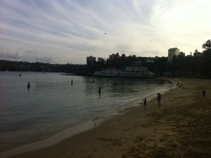 Harbour Beach at Manly Cove, looking out from Manly Wharf.