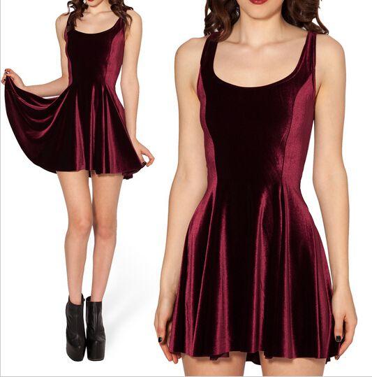 Nuevo 2016 otoño Velvet Wine red Evil vestido Skater de terciopelo vestido ocasional partido vestidos tallas grandes ropa en Vestidos de Moda y Complementos Mujer en AliExpress.com | Alibaba Group