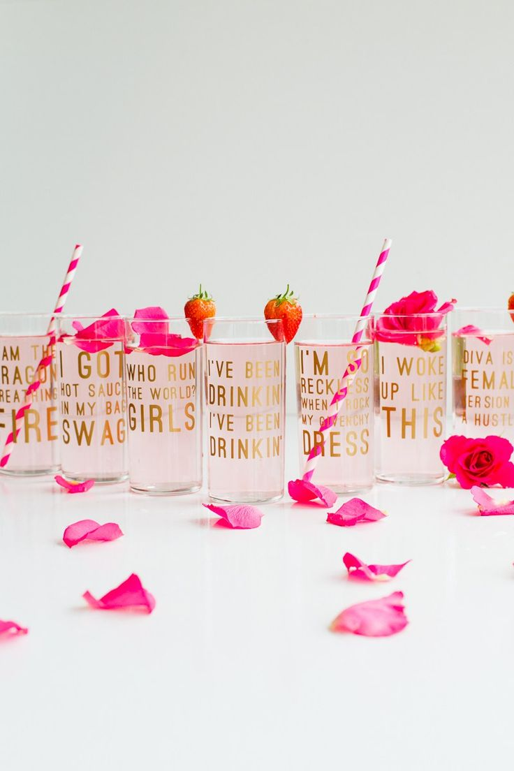 Bachelorette party favor idea - Beyonce lyric glasses with fun straws {Courtesy of Kayla's Five Things}