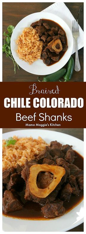 #AD Braised Chile Colorado Beef Shanks (or Chamorros con Chile Colorado) is a robust and rich in flavor dish. This is Mexican recipe destined to be one of your family favorites. By Mama Maggie's Kitchen via @maggieunz @rumbameats #mexicanfood #chilecolorado #beefshanks #chamorro