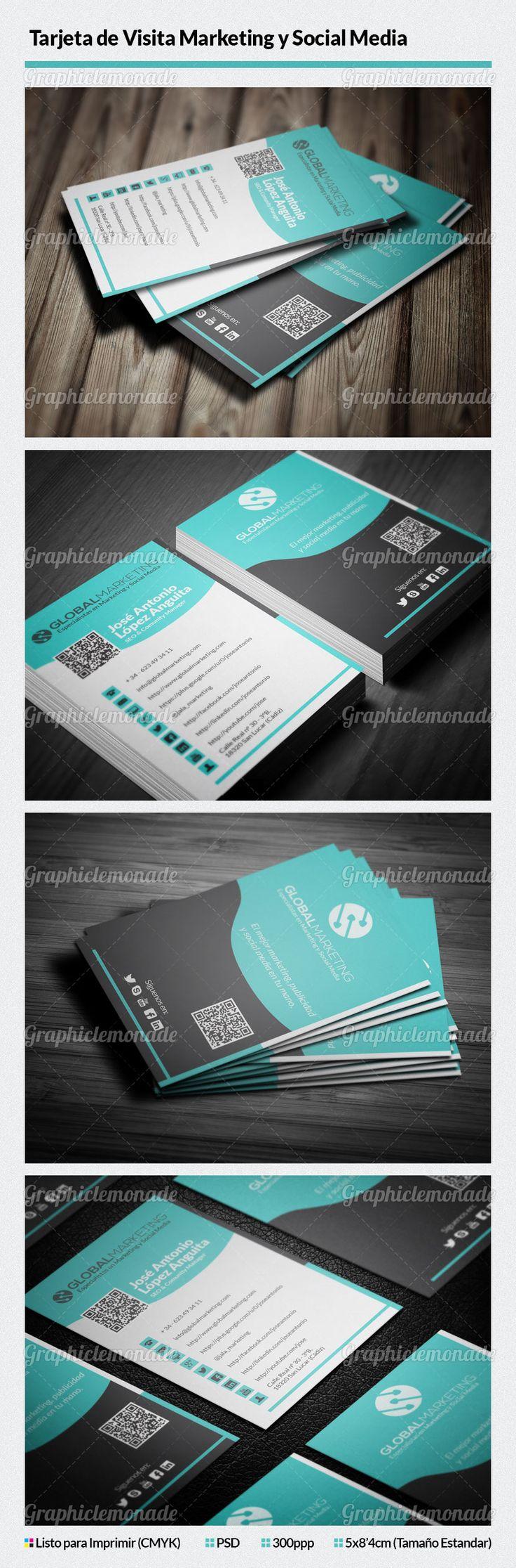 Plantilla de Tarjeta de Visita Marketing y Social Media