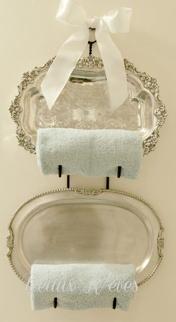 Display Silver Platters and Rolled Guest Towels on a bottle rack | Beaux R'eves | Nice in a Guest Room Bath or Powder Room