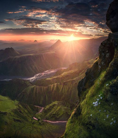 maxrivephotography ~ A sunrise at 2 am high up a mountain in the Highlands of Iceland.
