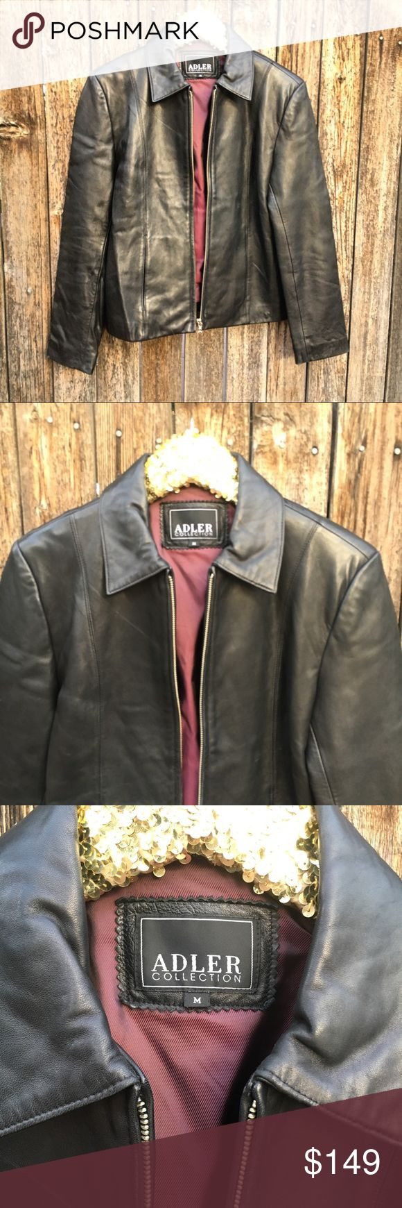 "Adler Black Lambskin Leather Jacket M EUC! Some minor scuffs and wear from minimal/normal use. Vintage 90s vibes with on trend with timeless appeal. Any occasion is a good occasion for genuine and authentic Lambskin Leather! Cool, classic and chic AF. 19"" pit to pit, 23"" shoulder to hem length, 23.5"" sleeves. Bundle and save. Offers warmly welcomed! Adler Jackets & Coats"