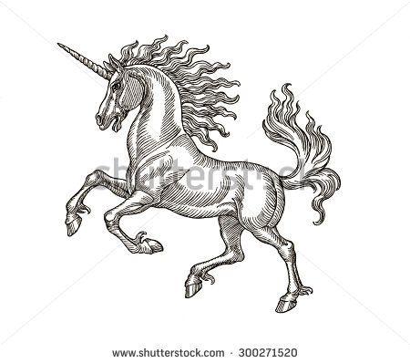 stock-photo-ink-and-pen-hand-drawing-of-mythological-animal-unicorn-illustration-in-vintage-style-300271520.jpg (450×398)
