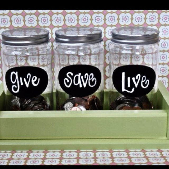 Label money jars to teach kids about giving saving and for Cute money saving jars