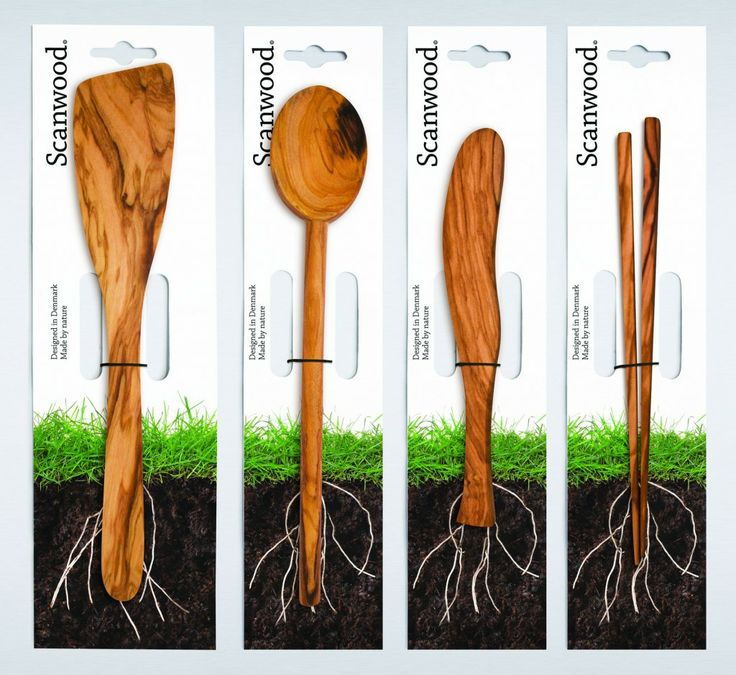 company makes wood kitchen products.  packaging designed to tell story about the history of the wood for this product.  pretty cool green initiative.