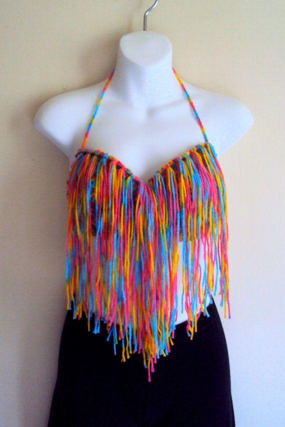 Crochet Fringe Boho Bikini Top Hippie Style Gyspy Top Tank ...