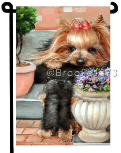 High Quality YORKIE Painting GARDEN FLAG Dog Art Yorkshire Terrier Puppy