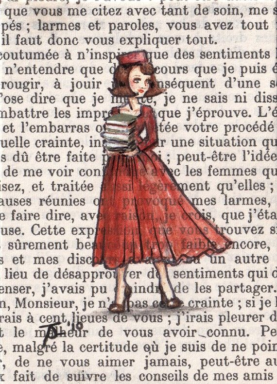 """Paris, 1962 - Armfulls of Books"" by Purrr, 5""x7"" print of original ACEO painting on vintage book page, $13.50"