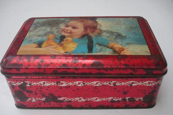 French vintage biscuit tin, little girl with chicks, 1950s vintage tin, storage tin, rectangular vintage tin