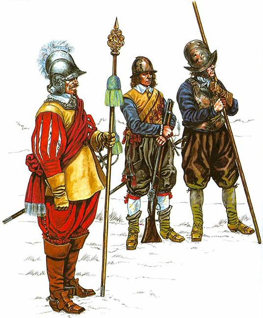 """The English Civil War 1642-1651"" • Officer trained bands 1642 • Musketeer, trained bands 1642 • Pikeman, trained bands 1642"