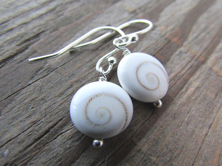 Shiva Eye Earrings small shells stone dangles by twobadcats