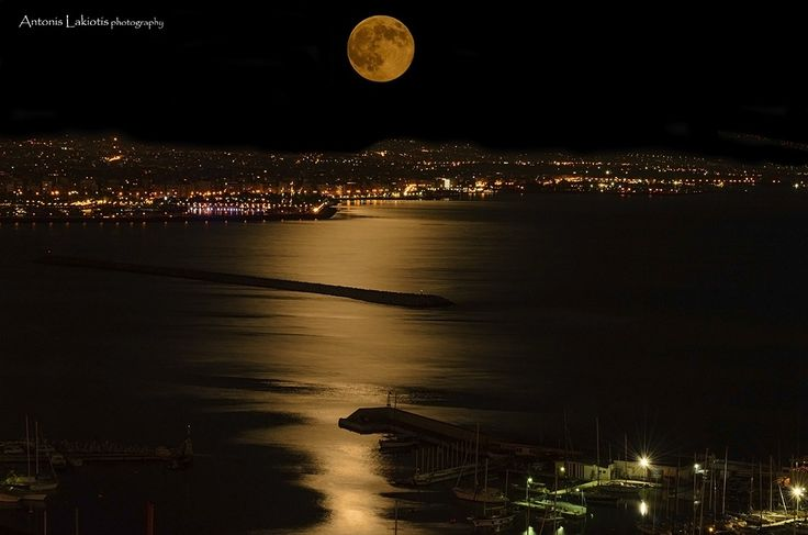 Full Moon Over Paleo Faliro & Mikrolimano Piraeus Greece by Antonis Lakiotis on 500px