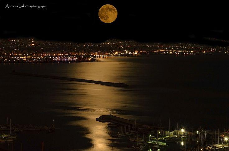 Full Moon Over Paleo Faliro & Mikrolimano Piraeus Greece by Antonis Lakiotis / 500px