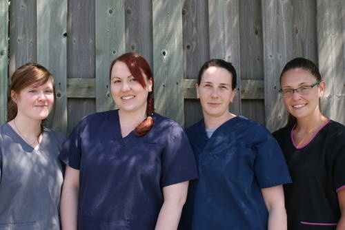 Our 4 Registered Veterinary Technicians: Jen, Kathryn, Tannis and Shannon