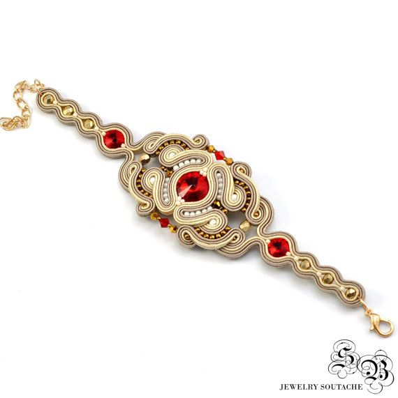 Oriental Soutache Set, Oriental Jewelry Set, Beige Red Soutache Jewelry, Unique…