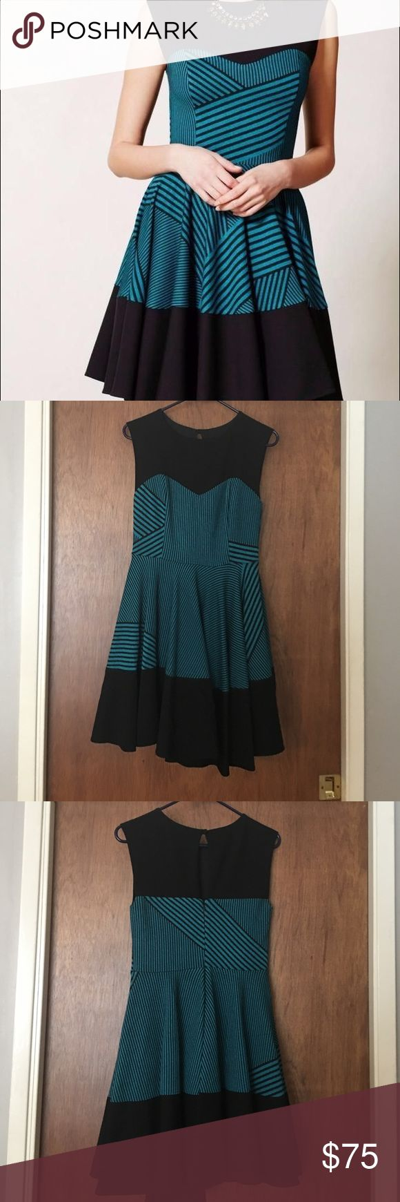 Eva Franco Sleeveless Dress (Anthropologie) New with tags Eva Franco turquoise and black striped heavy weight jersey dress. Purchased from Anthropologie. Anthropologie Dresses