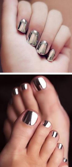 get this mirror chrome nail polish with Chrome Shinning Glitter Mirror Nail Powder & No Wipe Gel Top Coat!