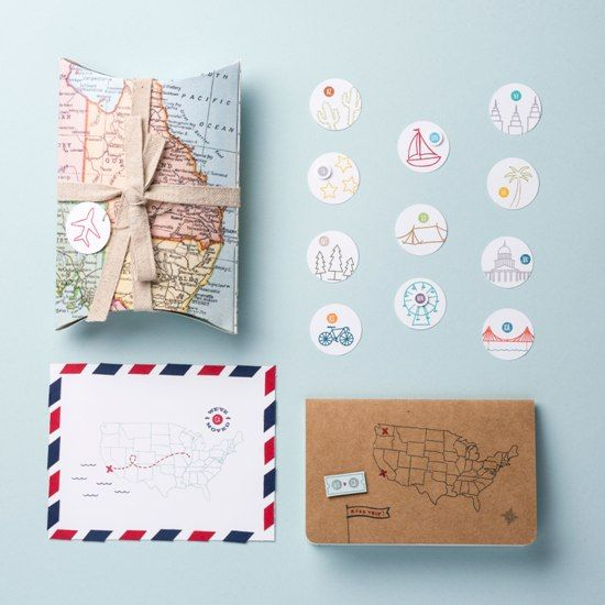 Loving these Stampin' Up! photopolymer stamps! Map it  Out and Greetings From work so nicely together.