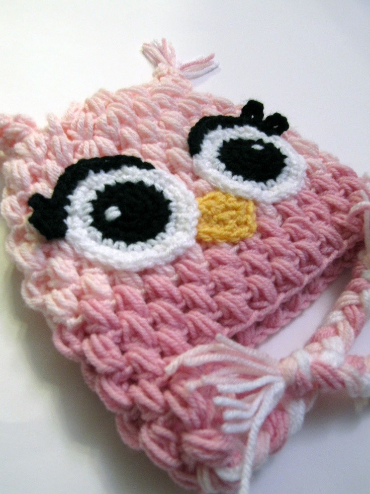 Hooty Owl Hats - Bowtykes Crochet Pattern. i made an ariel inspired hat and used the puff stitch. it might be my new favorite stitch for hats