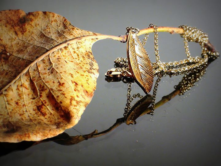 Necklace Leaf Gold Κ14