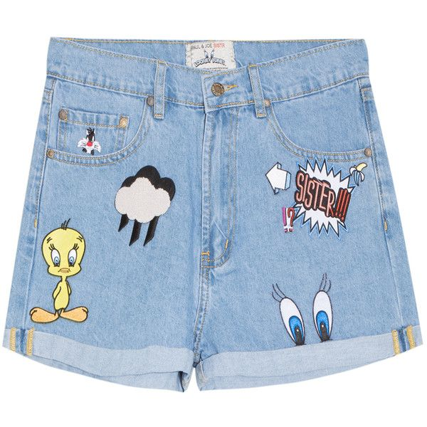 Looney Tunes Denim Shorts (2.387.860 IDR) ❤ liked on Polyvore featuring shorts…