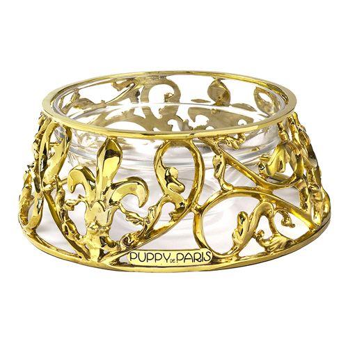 luxury gold dog bowl