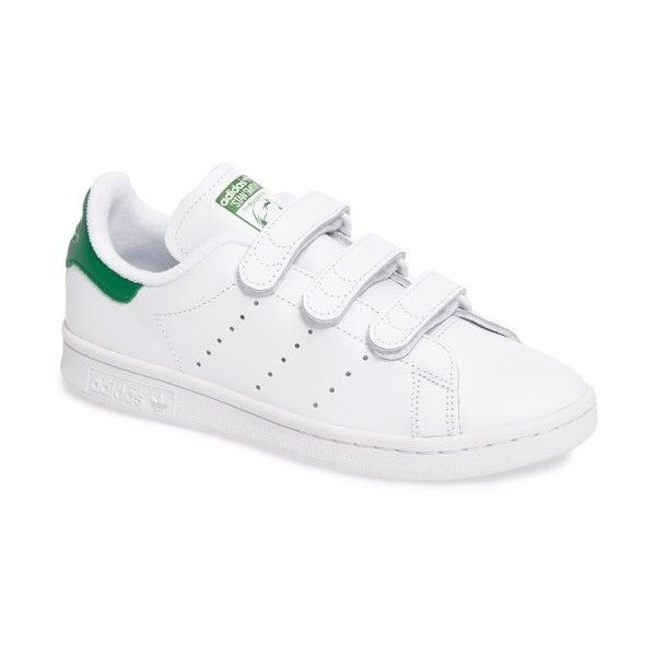 Women's Adidas Stan Smith Cf Sneaker (1.064.615 IDR) ❤ liked on Polyvore featuring shoes, sneakers, perforated shoes, adidas shoes, adidas, adidas trainers and adidas sneakers