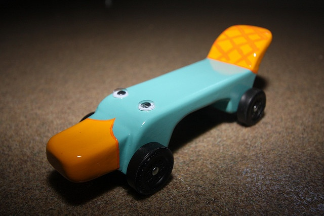 Perry pinewood derby car... this is way cute . . . or should I say cool - Cub Scouts probably don't want their mom telling them their Pinewood Derby car is cute!!