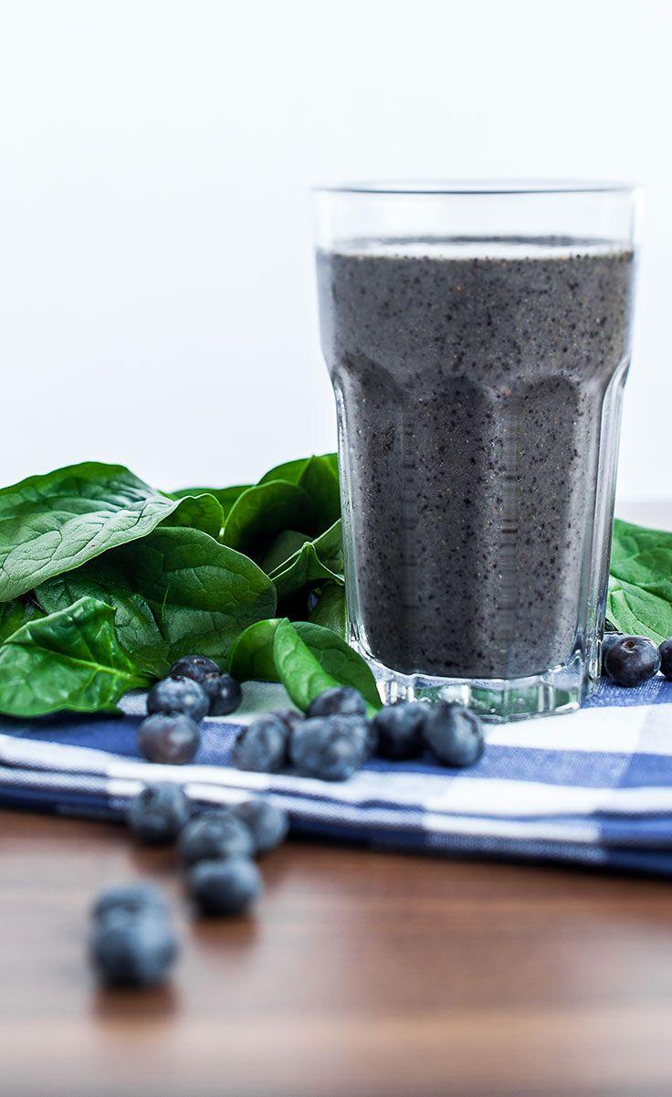 Blueberry Spinach Smoothie #BestSmoothie #VegaSmoothie