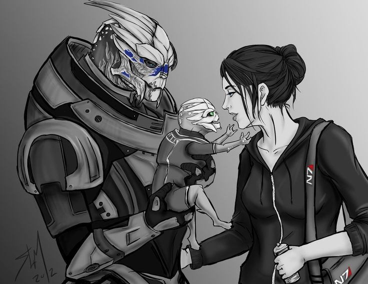 Quick doodle thats a present to a kink memer who wrote me a beautiful piece on Legion and femShep <3 She requested Garrus/Shep + baby T___________________________T I want this to have happened.....