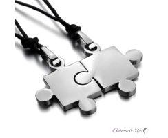 Partnerketten Puzzle  Silber 316 L Edelstahl inkl. Ketten...