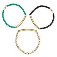 Set of 3 Bracelets in Green, Gold, Black