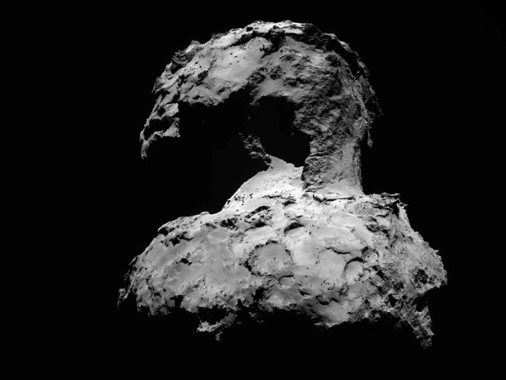 """The European Space Agency released a whole lot of new information and images from the Rosetta mission. This one, of the comet 67P shows off its """"rubber ducky"""" shape. http://www.popsci.com/upside-down-icebergs-living-fossil-sharks-and-other-images-week/"""