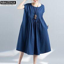4XL 5XL 6XL Большие размеры Женская одежда Лето 2017 г. Свободные рукавов элегантные голубое платье большой размер льняное платье дешевая одежда ...(China (Mainland))