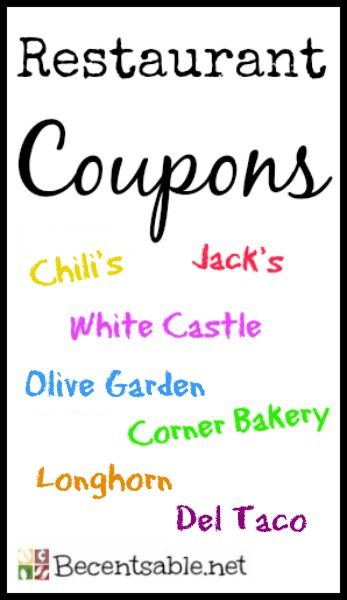 Print restaurant coupons for Olive Garden, Chili's, Del Taco, White Castle, Jack in the Box, Smokey Bones, Church's, Quiznos, Hardee's, Shoney's and more.