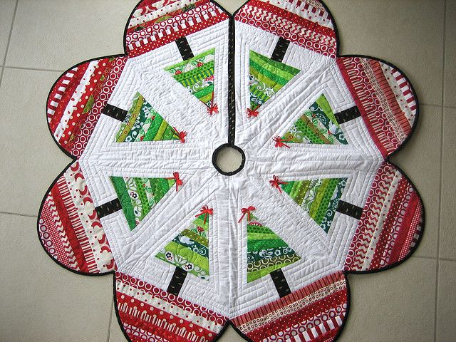 Tree Skirt by mamacjt, via Flickr.  This would look great under a white tree.