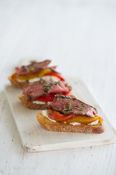 Steak Bruschetta: These appetizers are amazing! The beef is tender and flavorful. The garlic and olive oil infused red bell peppers and the creamy goat cheese are simply great together. Adding fresh herbs and a touch of coarse salt and cracked pepper is the perfect finishing touch.