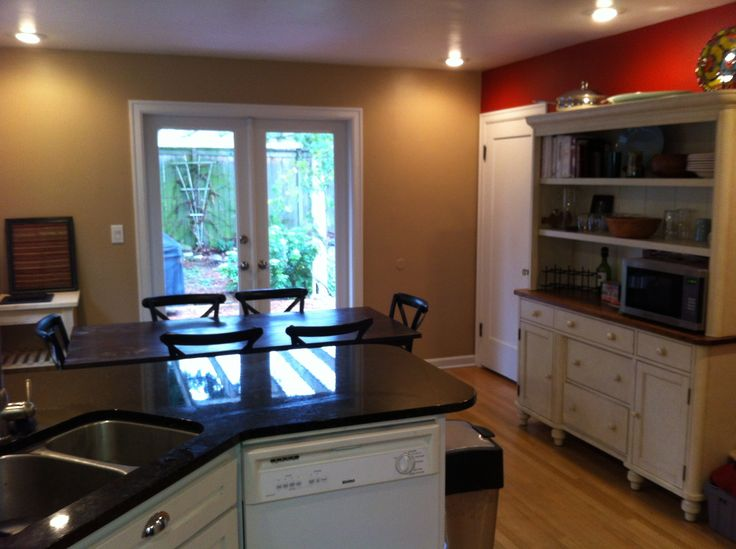 Kitchen reprinted main walls are benjamin moore brookline beige red accent wall is behr - Behr kitchen paint colors ...