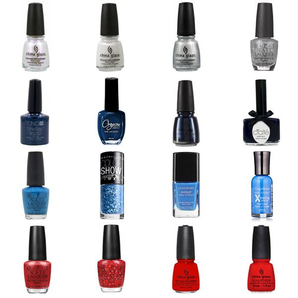 Blue Nail Polish Combinations: Red, White, & Blue Nail Polish Shades & Color Combinations