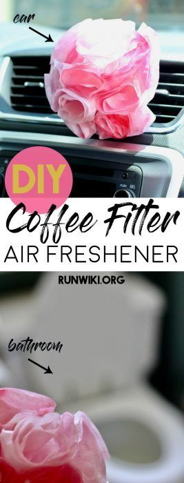 Easy DIY homemade coffee filter air freshener is the perfect smell hack for your car, bathroom, cat litter box, or diaper changing station. All natural and made with essential oils. Inexpensive and can be done with kids as a fun craft idea. Makes a nice gift the smelly person in your life.