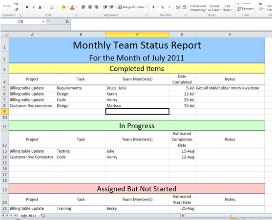 Project Status Report Template Excel Template - Free | Project