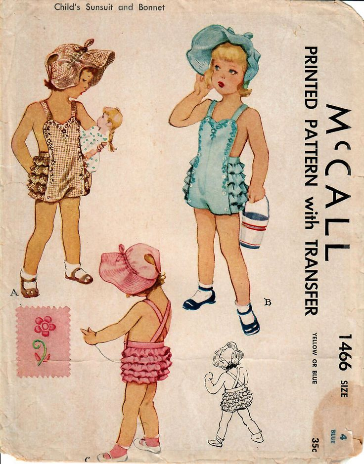 1940s McCall 1466 UNCUT Vintage Sewing Pattern Girls Sunsuit, Ruffled Playsuit, Sunhat, Bonnet Size 4 by midvalecottage on Etsy