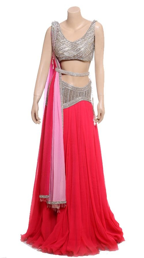 Red and Silver Embroidered Lehenga | Strandofsilk.com - Indian Designers