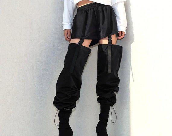 White Striped Thread Decorated High Waisted Loose Cargo Pants  Streetwear  Gothicwear  Punkwear  Harajuku  Vintage  Winterwear