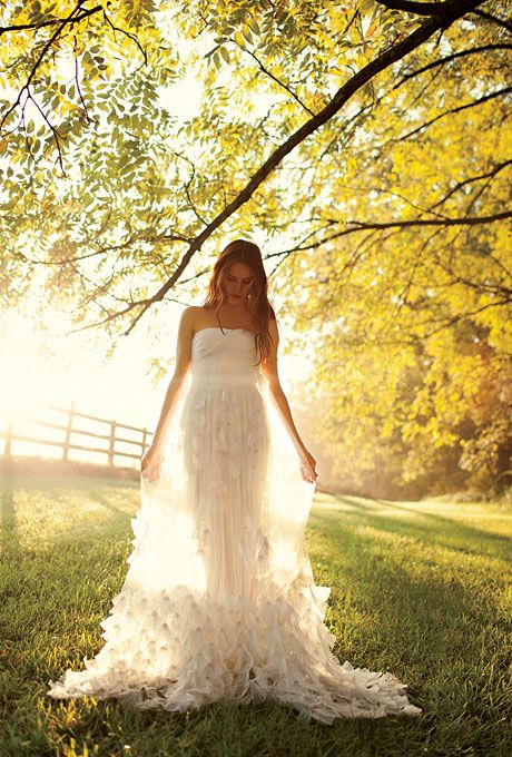 Such beautiful light and an amazing gown!  #wedding #gown #photography