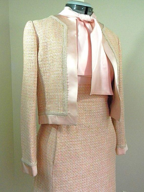 Jackie O Pink Tweed 2 Piece Suit Dress W Jacket Jackie