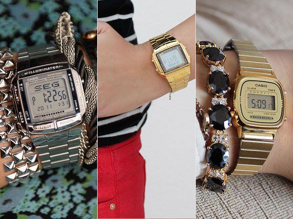 e55ea401965 Relógio digital dourado feminino e unissex da Casio e da Timex ...