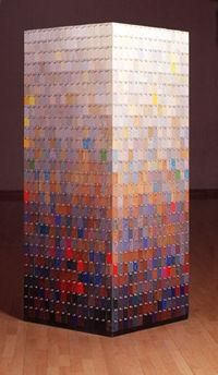 """594-58 ©2000 6'4""""x 32"""" x 32"""" Formica samples and pushpins  (private collection)"""